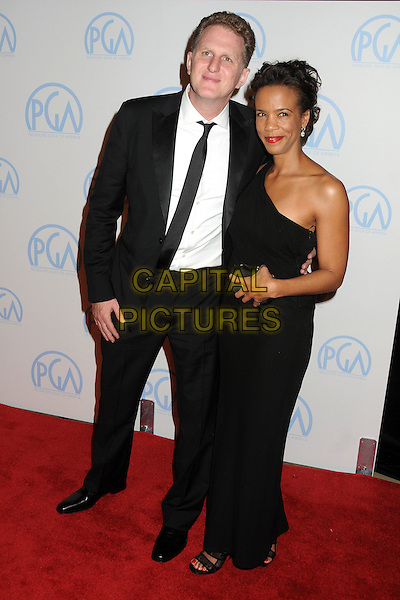 Michael Rapaport & guest .23rd Annual Producers Guild Awards held at the Beverly Hilton Hotel, - Beverly Hills, California, USA, .21st January 2012..full length one shoulder dress long maxi suit  black tie shirt white .CAP/ADM/BP.©Byron Purvis/AdMedia/Capital Pictures.