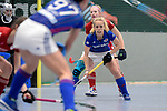 Mannheim, Germany, January 07: During the 1. Bundesliga Damen Hallensaison 2017/18 Sued  hockey match between Mannheimer HC (blue) and Nuernberger HTC (red) on January 7, 2018 at Irma-Roechling-Halle in Mannheim, Germany. Final score 8-1 (HT 5-1). (Photo by Dirk Markgraf / www.265-images.com) *** Local caption *** Lydia Haase #12 of Mannheimer HC