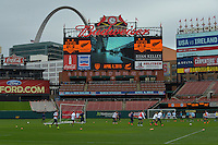St Louis, Missouri - April 3, 2015: The USWNT practice at Busch Stadium ahead of their friendly international against New Zealand.