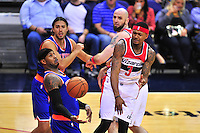 Wizards Bradley Ball passes the ball to teammate. John Wall. New York defeated Washington 115-104 during a NBA preseason game at the Verizon Center in Washington, D.C. on Friday, October 9, 2015.  Alan P. Santos/DC Sports Box