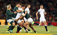 Henry Slade of England tackled by Damian de Allende of South Africa during the 2018 Castle Lager Incoming Series 2nd Test match between South Africa and England at the Toyota Stadium.Bloemfontein,South Africa. 16,06,2018 Photo by Steve Haag / stevehaagsports.com