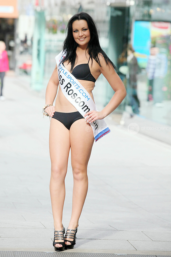 17/9/2010. Miss Ireland contestants. Miss Roscommon Siobhan Mullooly is pictured at St Stephens Green. the 35 Miss Ireland contestants officially unveiled in their swimwear and sashes for the 1st time at Stephen's Green Shopping Centre,  Dublin. Picture James Horan/Collins Photos