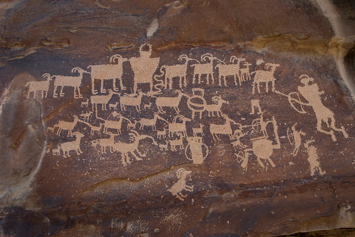 The Great Hunt Panel in Nine Mile Canyon, Utah.  Some speculate that this panel represents a particularly successful hunt of the Ute Culture.