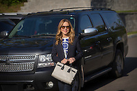 Julie Snyder, fiance of PQ leader Pierre-Karl Peladeau, is seen at a political event for the Chauveau by-election in Lac Beauport, just North of Quebec City, June 4, 2015.