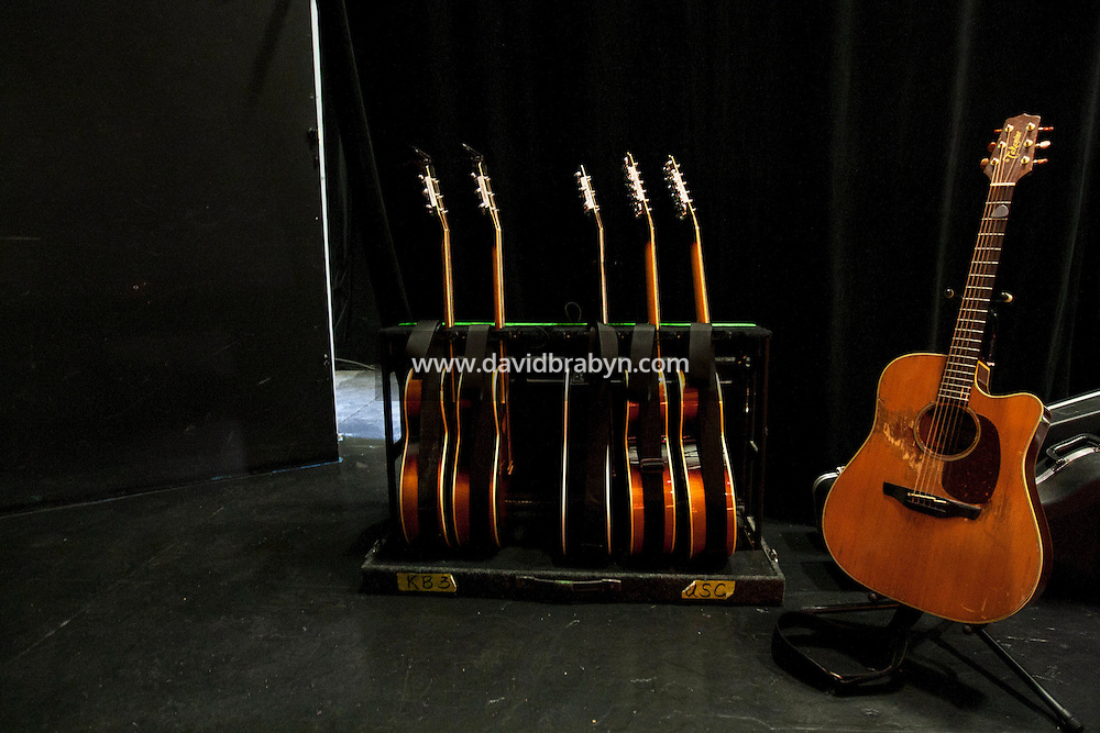 View of guitars belonging to Bruce Springsteen and John Wesley Harding backstage during the 2010 literary and music festival WAMFest at Fairleigh Dickinson University, Madison, NJ, USA, 6 May 2010.