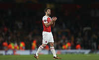Arsenal's Sokratis Papastathopoulos<br /> <br /> Photographer Rob Newell/CameraSport<br /> <br /> UEFA Europa League Semi-final 1st Leg - Arsenal v Valencia - Thursday 2nd May 2019 - The Emirates - London<br />  <br /> World Copyright © 2018 CameraSport. All rights reserved. 43 Linden Ave. Countesthorpe. Leicester. England. LE8 5PG - Tel: +44 (0) 116 277 4147 - admin@camerasport.com - www.camerasport.com