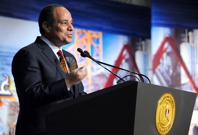 Egyptian President Abdel Fattah al-Sisi gives a speech during a ceremony of Workers day, in Cairo, on April 27, 2015. Photo by Egyptian Presidency