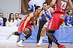 San Pablo Burgos John Jenkins and Gipuzkoa Basket Fede Van Lacke during Liga Endesa match between San Pablo Burgos and Gipuzkoa Basket at Coliseum Burgos in Burgos, Spain. December 30, 2017. (ALTERPHOTOS/Borja B.Hojas)