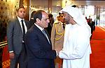 Egyptian President Abdel Fattah al-Sisi shakes hands with Sheikh Mohammed bin Zayed al-Nahyan Crown Prince of Abu Dhabi before he leaves Abu Dhabi, on September 26, 2017. Photo by Egyptian President Office