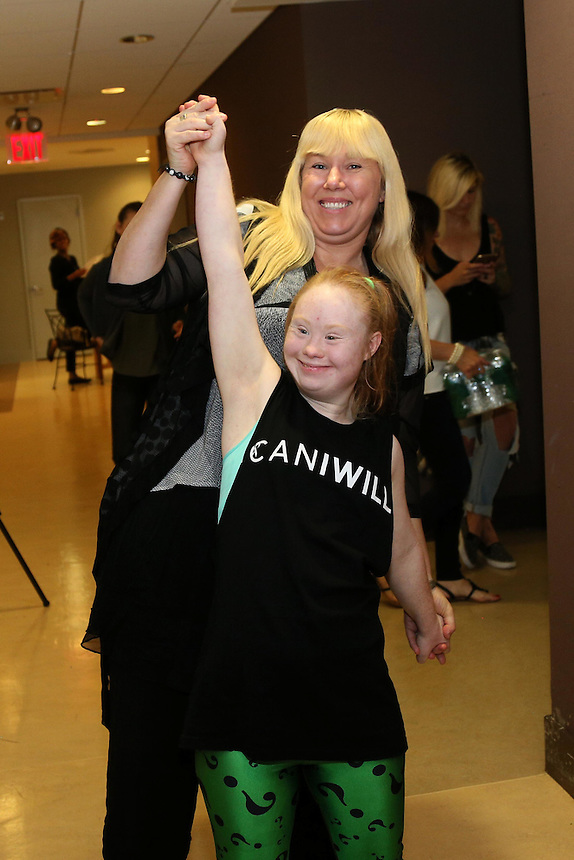 Disabled model Madeline Stuart from Brisbane, Australia with her Mother Rosanne Stuart during rehearsals for the FTL MODA presentation  at New York Fashion Week in New York, Saturday, September 12, 2015.