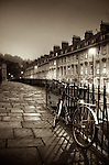 Night winter street scene in Bath, Somerset, England