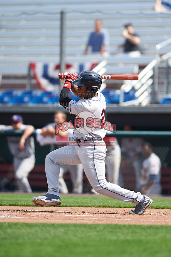 Mahoning Valley Scrappers center fielder Hosea Nelson (2) at bat during the second game of a doubleheader against the Auburn Doubledays on July 2, 2017 at Falcon Park in Auburn, New York.  Mahoning Valley defeated Auburn 3-2.  (Mike Janes/Four Seam Images)