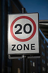 Twenty mile per hour speed zone sign, UK