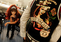 LOS ANGELES,CA - OCTOBER 15,2008: Models backstage prepare for Christian Audigier runway show during the Mercedes-Benz LA Fashion Week Spring 2009, October 15, 2008 at Smashbox Studios, Culver City, CA.