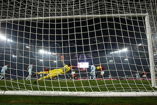 6th December 2009: Marco Cassetti marks the winning goal for Roma during the match for the Italian Serie A Soccer AS Roma v. SS Lazio at the Olympic Satadium,Rome.Photo by Leonardo Cavallo/ActionPlus - Editorial Use Not in Italy