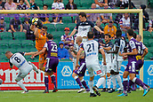 25th March 2018, nib Stadium, Perth, Australia; A League football, Perth Glory versus Melbourne Victory; Liam Reddy of the Perth Glory catches the cross in front of Besart Berisha of Melbourne Victory and team mate Scott Neville