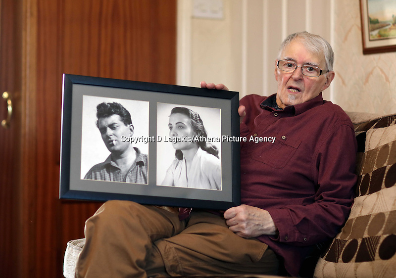 """Pictured: Franco Gorno holding framed pictures of himself and late wife Joan at his house in Cardiff, south Wales. Tuesday 25 March 2014<br /> Re: Every month heartbroken widower Franco Gorno travels to a bus shelter in Neath outside Victoria Gardens in south Wales, to place flowers at the spot where he first met Joan 64 years ago.<br /> His story came to light after a local resident, Simon Watkins found the bouquet of flowers and an emotional note left at the bus shelter.<br /> The note, which was not signed, said: """"Joan, my beloved, passed away on 09/03/2013 and broke my heart for ever! Rest in peace my darling.<br /> """"I'll see you soon, I'll be 87 soon so I will not be long...God bless.""""<br /> Thousands of people shared and liked the story on the Evening Post's Facebook page, which led to Franco's granddaughter Katie Stewart to contact the Post and reveal who the mystery couple are.<br /> Ms Stewart, who is originally from Neath, but now lives in Ystradgynlais, said one of her friends posted the story on Facebook.<br /> """"It is very touching,"""" she said. """"He is very sentimental.<br /> """"He also came down at Christmas and spoke to a gentleman in a cafe near the park.<br /> """"He just says that spot is sentimental to him.<br /> """"I saw him before he was going to Neath to drop the flowers there.""""<br /> Franco, aged 86, said he was devastated when Joan, aged 81, died last year. """"She destroyed me when she went,"""" he said. """"You never get rid of the loneliness. I miss her every minute.""""<br /> He said he often visits the bus shelter.<br /> """"I put flowers there every month or so as I live in Cardiff,"""" he said.<br /> """"I put a note to satisfy people, as they will be saying 'what the hell are these flowers there for?'""""<br /> Mr Gorno, who has four children and four grandchildren, said he has fond memories of when he met Joan, around two weeks before Christmas in 1950.<br /> They married two years later.<br /> """"I came from Italy with some boys to work at the tinplate works at Briton"""
