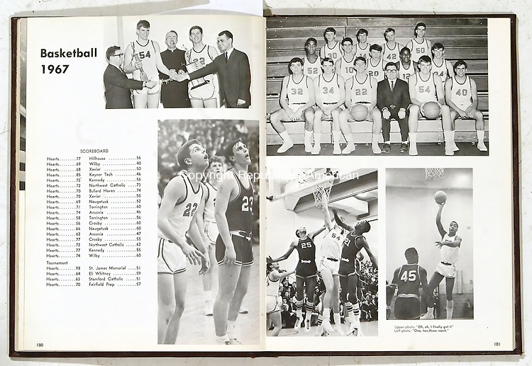 WATERBURY, CT, 03/07/07- 030707BZ03- Yearbook pages for the Sacred Heart High School 1967 boys basketball team.<br /> Jamison C. Bazinet Republican-American