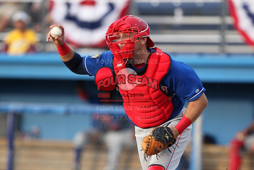 Auburn Doubledays catcher Spencer Kieboom #16 during a game against the Batavia Muckdogs at Dwyer Stadium on June 18, 2012 in Batavia, New York.  Auburn defeated Batavia 6-5.  (Mike Janes/Four Seam Images)