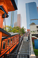 Angels Flight (or Angel's Flight), landmark, funicular railway,  Bunker Hill, district, of, Downtown, Los Angeles, CA, two, funicular cars, Sinai, and, Olivet, tracks, connecting Hill Street, and, California Plaza