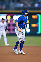 Kevin Padlo (15) of the Durham Bulls takes his lead off of second base against the Charlotte Knights at BB&T BallPark on July 31, 2019 in Charlotte, North Carolina. The Knights defeated the Bulls 9-6. (Brian Westerholt/Four Seam Images)