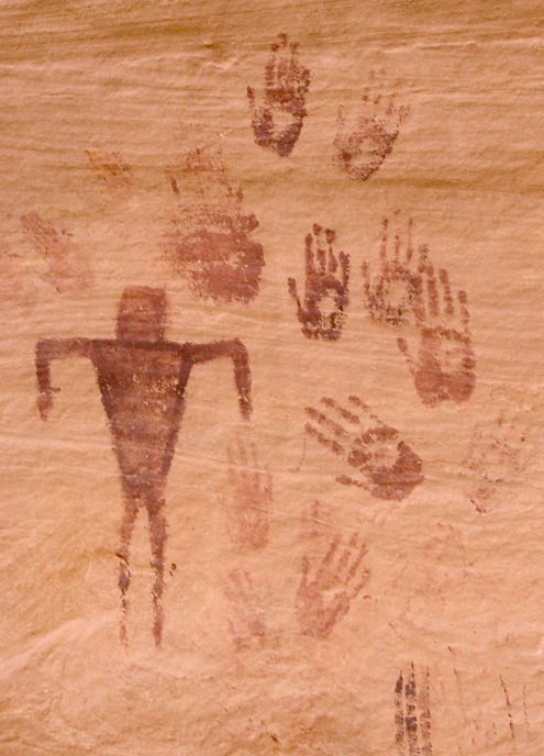 These are a fine example of handprints, which are found on many panels in the area.