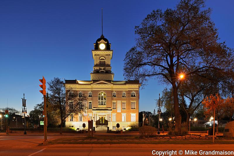St. Boniface City Hall at night<br /> Winnipeg<br /> Manitoba<br /> Canada