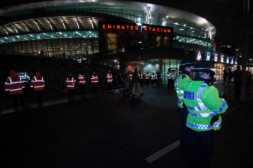 A heavy security presence can be seen in high visibility jackets outside The Emirates Stadium, home of Arsenal<br /> <br /> Photographer Craig Mercer/CameraSport<br /> <br /> Football - UEFA Champions League Group F - Arsenal v Dinamo Zagreb - Tuesday 24th November 2015 - Emirates Stadium - London<br /> <br /> &copy; CameraSport - 43 Linden Ave. Countesthorpe. Leicester. England. LE8 5PG - Tel: +44 (0) 116 277 4147 - admin@camerasport.com - www.camerasport.com