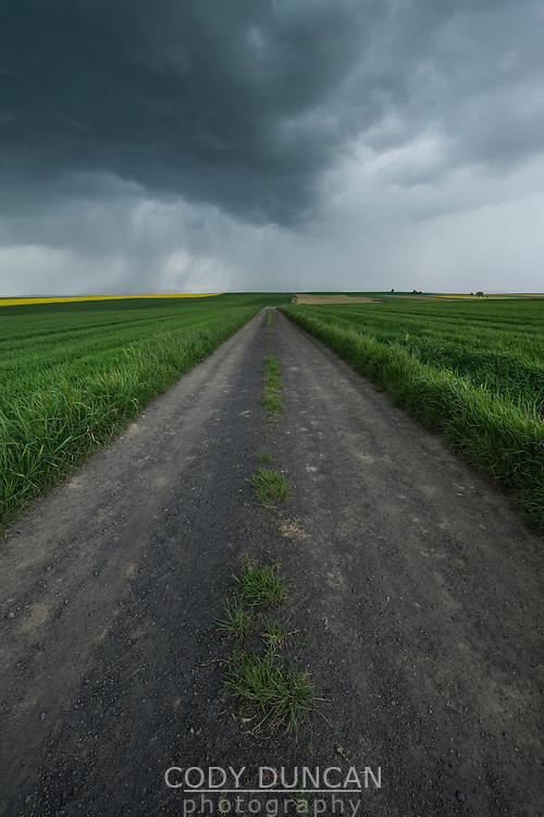 Spring thunderstom over fields, Prudnik County, Opole Voivodship, Silesia, Poland