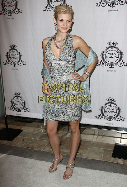 "ANGEL McCORD .Attending the  ""America's Next Top Model"" party at Villa Blanca, Beverly Hills, California, USA, .17th November 2009. .full length green grey gray wrap shawl dress print sleeveless silver sandals leopard animal .CAP/ADM/KB.©Kevan Brooks/AdMedia/Capital Pictures."