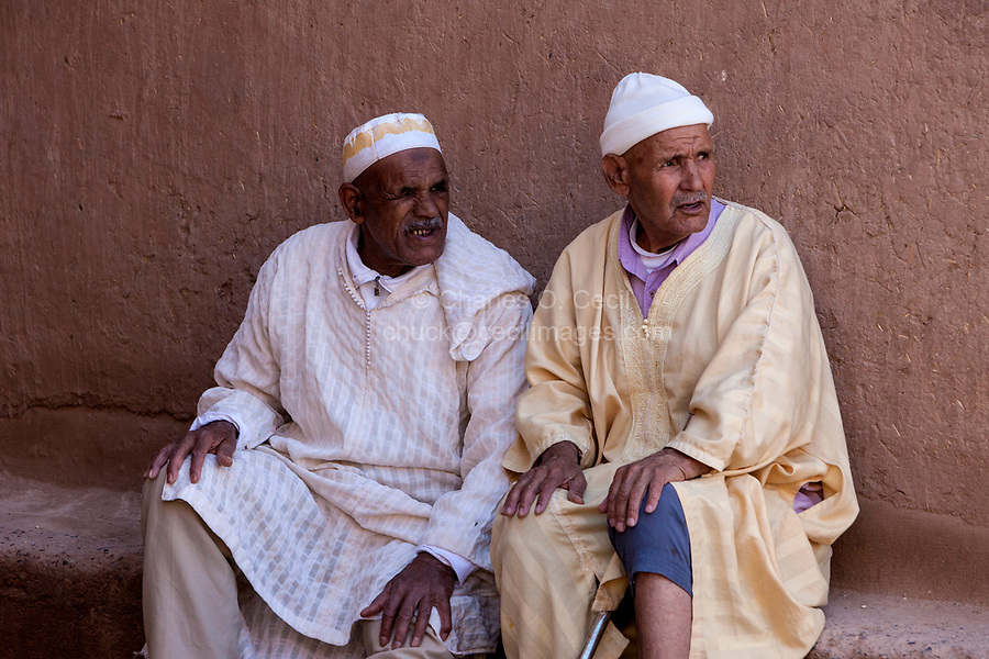 Elkhorbat, Morocco.  Two Elderly Berber Men Talking.