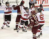 Kendall Coyne (NU - 77), Casey Pickett (NU - 14), Tori Hickel (NU - 55) - The Northeastern University Huskies defeated Boston College Eagles 4-3 to repeat as Beanpot champions on Tuesday, February 12, 2013, at Matthews Arena in Boston, Massachusetts.