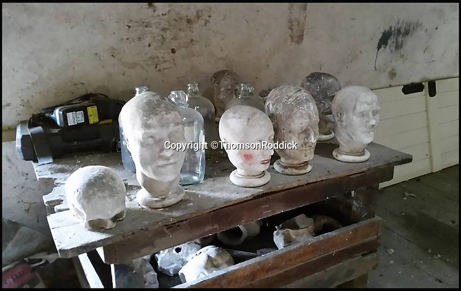 BNPS.co.uk (01202 558833)<br /> Pic: ThomsonRoddick/BNPS<br /> <br /> The death masks were found on a table at the top of a barn.<br /> <br /> These disturbing Victorian plaster cast heads of notorious criminals are a far cry from today's bland mugshots of lowlifes.<br /> <br /> Two of the heads have been identified as Benjamin Courvoisier, a serial killer in the mould of Jack the Ripper, and coachman Daniel Good who mutilated his pregnant mistress. <br /> <br /> In total, nine heads were discovered at an outbuilding at a rural home just outside Penrith, Cumbria, which have now fetched almost £40,000 at auction. <br /> <br /> Experts predicted the collection of heads would sell for £2,000  but Courvoisier's head alone went for £20,000.<br /> <br /> Two of the heads were made by the famous British exponent of phrenology, James De Ville, who built a private museum of more than 5,000 specimens.