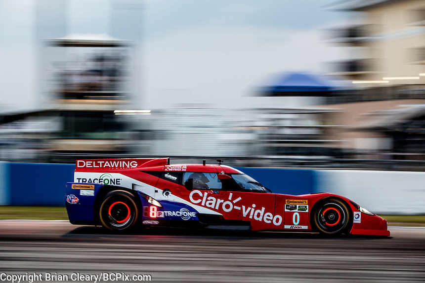 Night  practice, #0 DeltaWing,  Andrew Meyrick, Katherine Legge, Memo Rojas   12 Hours of Sebring, Sebring International Raceway, Sebring, FL, March 2015.  (Photo by Brian Cleary/ www.bcpix.com )