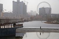 New high-rise buildings stand over Kashgar, Xinjiang, China.