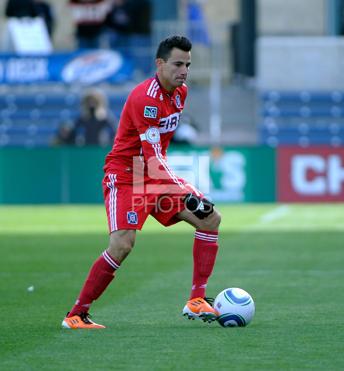 Chicago Fire midfielder Marco Pappa (16) plays the ball.  The Chicago Fire defeated Sporting KC 3-2 at Toyota Park in Bridgeview, IL on March 27, 2011.
