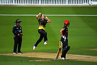Jess Kerr bowls during the Hallyburton Johnstone Shield women's one-day cricket match between Wellington Blaze and Canterbury Magicians at Basin Reserve in Wellington, New Zealand on Sunday, 28 January 2018. Photo: Dave Lintott / lintottphoto.co.nz
