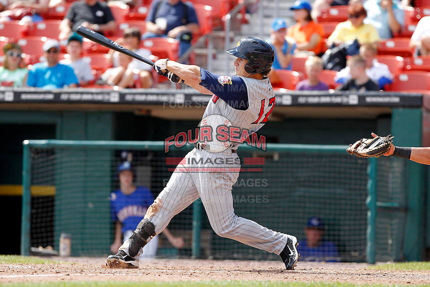 Toledo Mudhens outfielder Jeff Salazar #12 during a game against the Buffalo Bisons at Coca-Cola Field on August 17, 2011 in Buffalo, New York.  Buffalo defeated Toledo 4-2.  (Mike Janes/Four Seam Images)