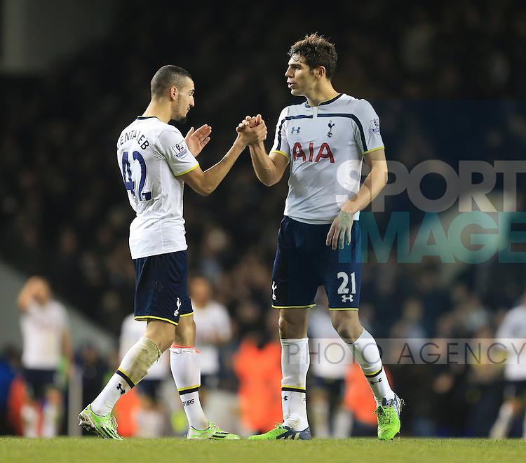 Tottenham's Nabil Bentaleb celebrates with Ferderico Fazio<br /> <br /> Barclays Premier League - Tottenham Hotspur vs Chelsea - White Hart Lane  - England - 1st January 2015 - Picture David Klein/Sportimage