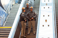 New York State troopers at the 96th Street station on the yet to be opened Second Avenue Subway line prior to its preview on Thursday, December 22, 2016. Work on the Second Avenue line started in 1972 but stalled as the economy tanked. It was revived ten years ago and Phase One, traveling up to 96St will open for revenue service on January 1, 2017. (© Richard B. Levine)
