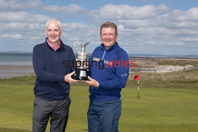 The Senior Open Championship Presented by Rolex Media Day.<br /> Defending Champion Paul Broadhurst alongside Welsh golfer Phillip Price.<br /> Royal Porthcawl<br /> 26.04.17<br /> ©Steve Pope - Sportingwales