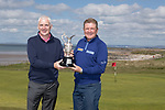 The Senior Open Championship Presented by Rolex Media Day.<br /> Defending Champion Paul Broadhurst alongside Welsh golfer Phillip Price.<br /> Royal Porthcawl<br /> 26.04.17<br /> ©Steve Pope - Sportingwales