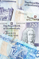 Scottish banknotes from The Royal Bank of Scotland £5, £10, £20