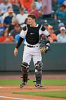 Delmarva Shorebirds catcher Adley Rutschman (37) during a South Atlantic League game against the Greensboro Grasshoppers on August 21, 2019 at Arthur W. Perdue Stadium in Salisbury, Maryland.  Delmarva defeated Greensboro 1-0.  (Mike Janes/Four Seam Images)