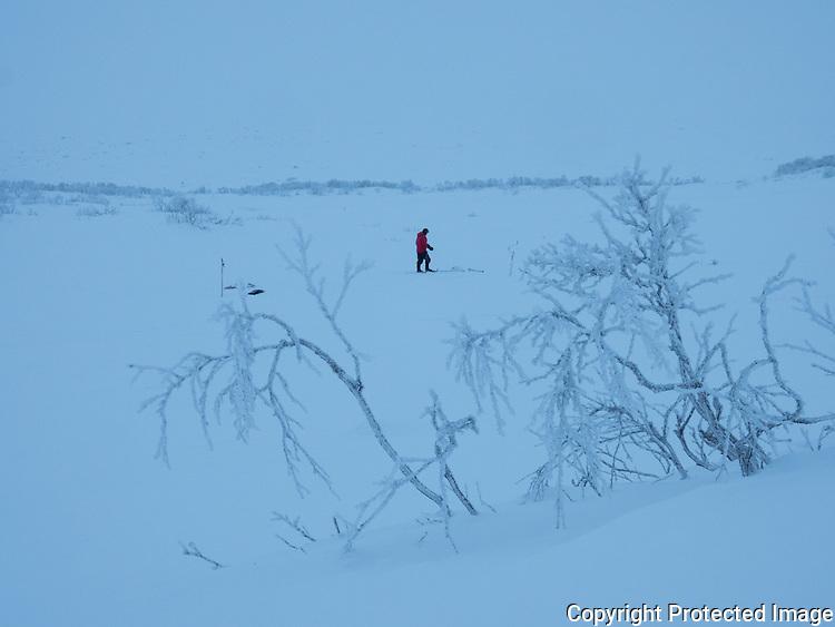 Mann isfisker en grå vinterdag. ---- Man ice fishing.