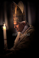 Easter vigil mass Pope Benedict XVI in Saint Peter's Basilica, in the Vatican. 7 April 2012
