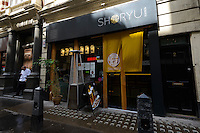 Shoryu Ramen restaurant near Piccadilly Circus, London, UK, 5 May 2014. Sake rice wine has become popular in London. Many Japanese restaurants and bars serve sake by the glass and bottle. Sake cocktails are especially popular.