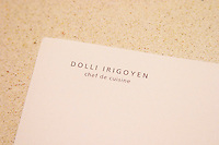 Dolly Irigoyen, famous chef and TV Presenter, her letter head paper. The Dolly Irigoyen - famous chef and TV presenter - private restaurant, Buenos Aires Argentina, South America Espacio Dolli