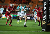 29th September 2017, Parc y Scarlets, Llanelli, Wales; Guinness Pro14 Rugby, Scarlets versus Connacht; Jack Carty of Connacht breaks for the try line