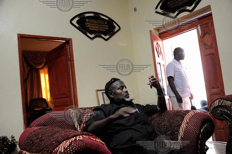 """Mogadishu/Somalia 2012 - The Mayor of Mogadishu, Mohamed Noor, also nicknamed """"Tarzan"""", in his private house in the city."""